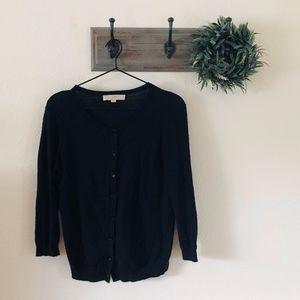 Loft Black Cardigan Sweater S